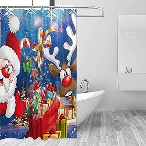 ZOEO Deer Shower Curtain Xmas Santa Claus Christmas Fabric Waterproof Large Window Bathroom Curtains Sets Farmhouse Tub Home Decor 12 Hooks 72x72 inch