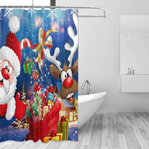 """Christmas Bathroom Waterproof Fabric Shower Curtain 72x72/"""" for Gift 12 Ring"""