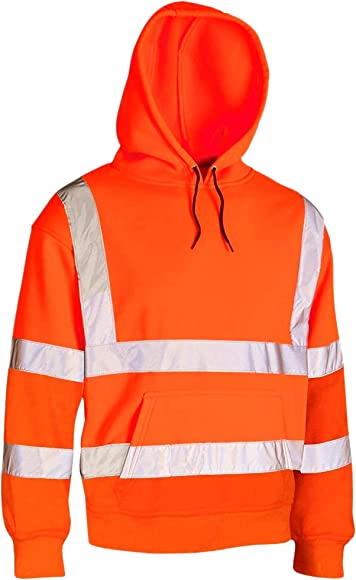 HI HIGH VIZ SAFETY HOODED SWEATSHIRT HOODIE TOP EN471 REFLECTIVE TAPE SECURITY
