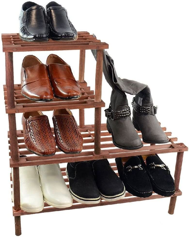 Somier de madera de 4 niveles shoe botas soporte estante ...