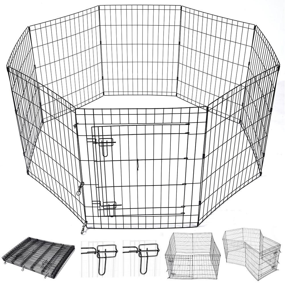 AMPERSAND SHOPS Small Animals Metal Pet Playpen Enclosure Customizable 8-Panels with Double Latch Door Rust-Resistant (30'' Height)