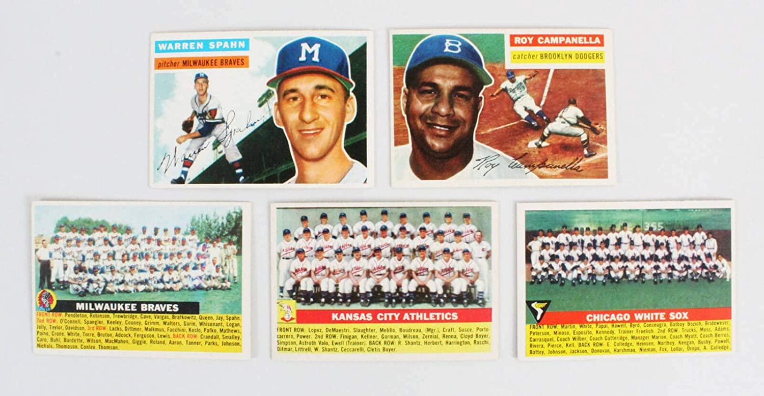 Amazon.com: 1956 Topps Baseball Card Lot (9) – Warren Spahn, Roy Campanella, etc.: Sports Collectibles