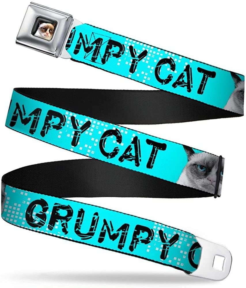 1.5 Wide Buckle-Down Seatbelt Belt GRUMPY CAT Scratched w//Face C//U Turquoise//White//Black 24-38 Inches in Length