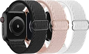 LANGXIAN 3 Pack Nylon Elastic Strap Compatible with Apple Watch Bands, Solo Loop Adjustable Stretch Braided Wristband for iWatch Series 6/5/4/3/2/1/SE, 38mm 40mm (Black/Rose Pink/White)