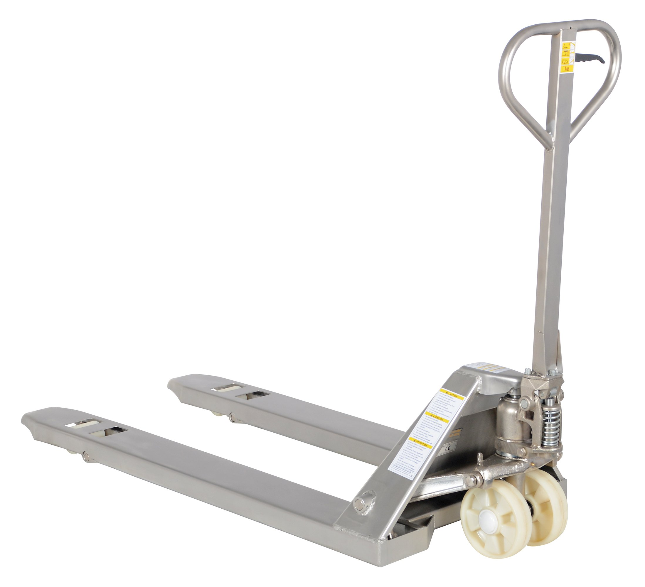Vestil PM5-2748-SFF 304 Stainless Steel Frame and Forks Pallet Truck with Nylon Wheels, 5500 lbs Capacity, 48'' Length x 27'' Width Fork