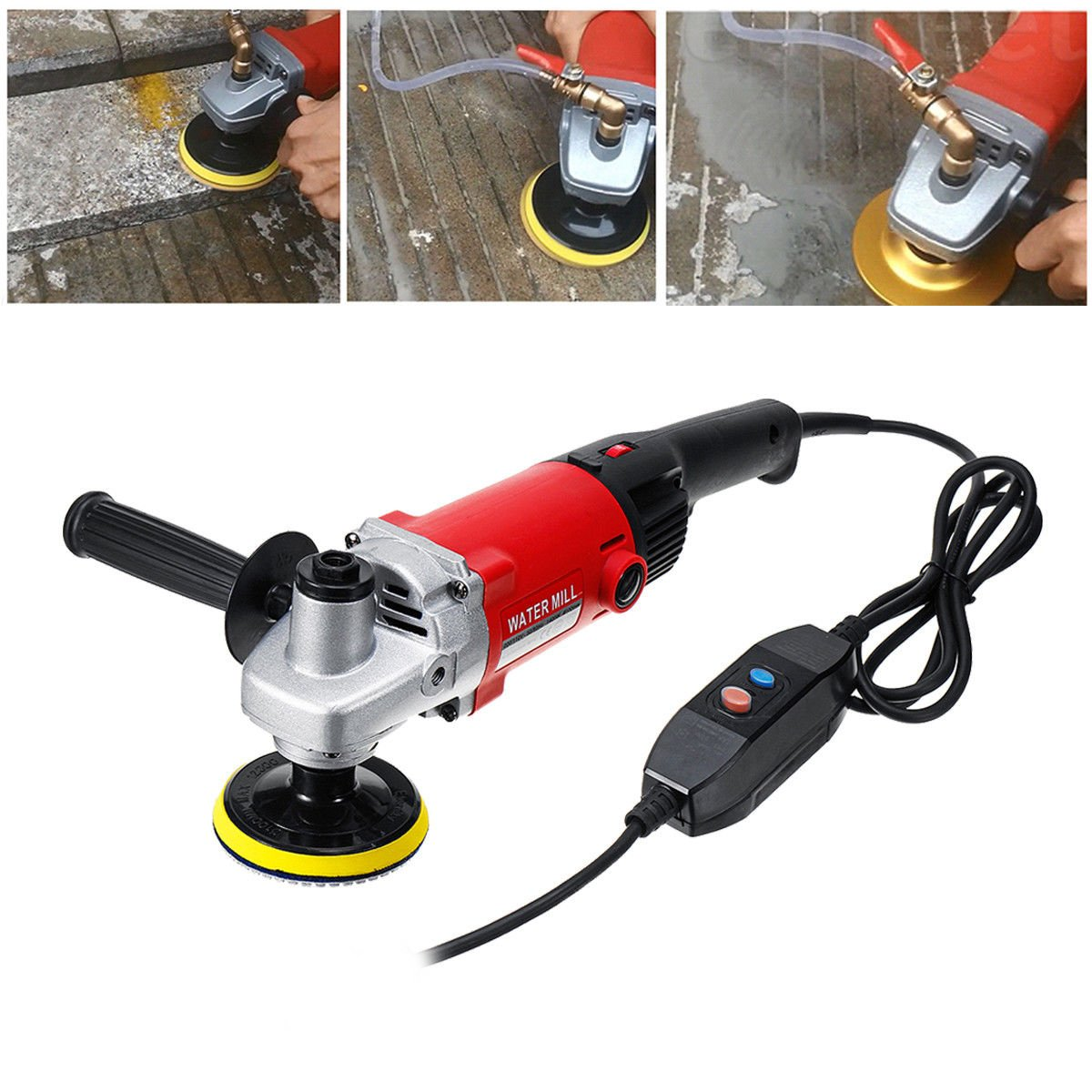 MOPHOTO 4-Inch Variable Speed Random Orbital Polisher Kit, Countertop Wet Sander Grinder w/Diamond Pads for Marble/Stone/Granite, USA Warehouse Shipment by MOPHOTO (Image #1)