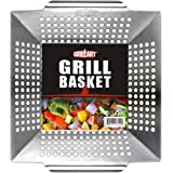 GRILLART Grill Basket for Vegetables & Meat – Large Grill Wok/Pan for the Whole Family - Heavy Duty Stainless Steel Veggie Gr