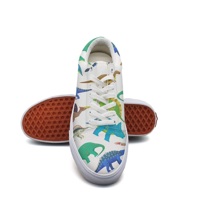 Ouxioaz Womens Skateboarding Shoes White Untamed Fingerlings Dinosaurs Fury Canvas Tennis Shoes
