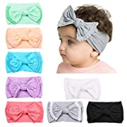 DANMY Baby Girl Nylon Headbands Newborn Infant Toddler Hairbands and Bows Child Hair Accessories (Nylon Bow(8pcs))
