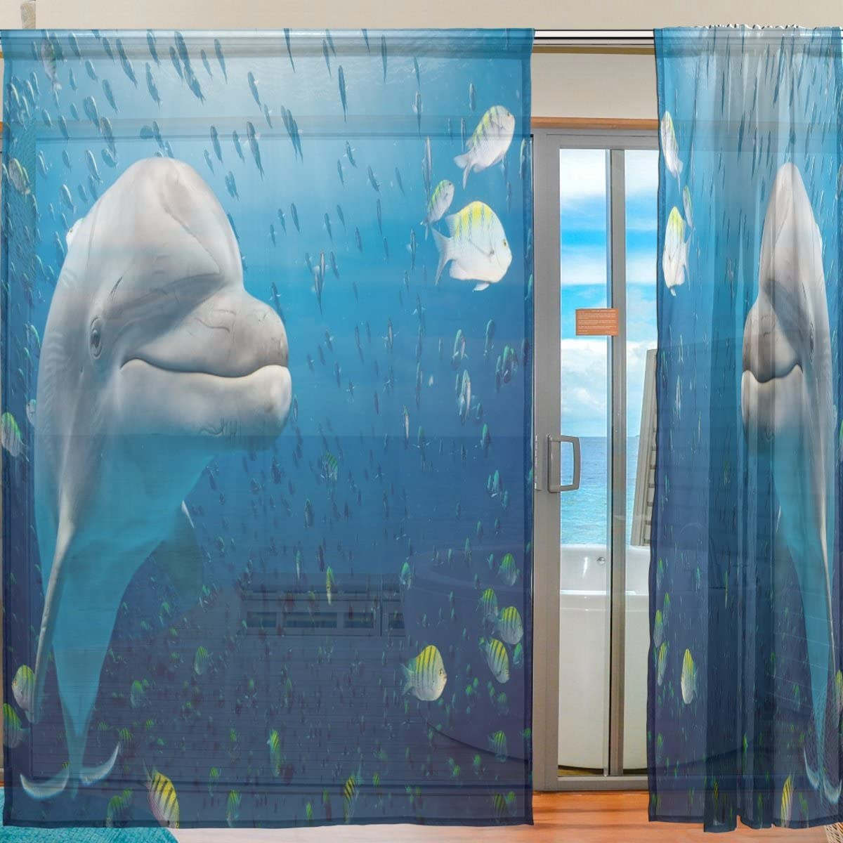 Oreayn Tropical Fishes Sea Dolphin Sheer Curtain for Living Room Bedroom,55 x 84 Inches Long,Blue,Window Treatments,Rod Pocket,Polyester Fabric,Set of 2 Panels