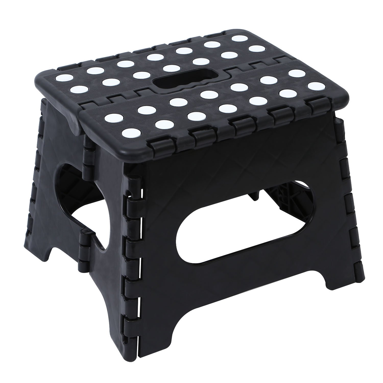 Maddott Folding Step Stool 11 Inch Height Fold Step Stool for Kids Adults Kitchen Bathroom and Bedroom with Handles 8x6x7.5inch Each Holds up to 180 Lb Step Stool Folding Black Pack of 2