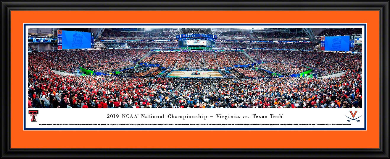 2019 NCAA Basketball Championship - Virginia vs Texas Tech - Unframed Poster by Blakeway Panoramas (Deluxe Frame with UV Double Mat)