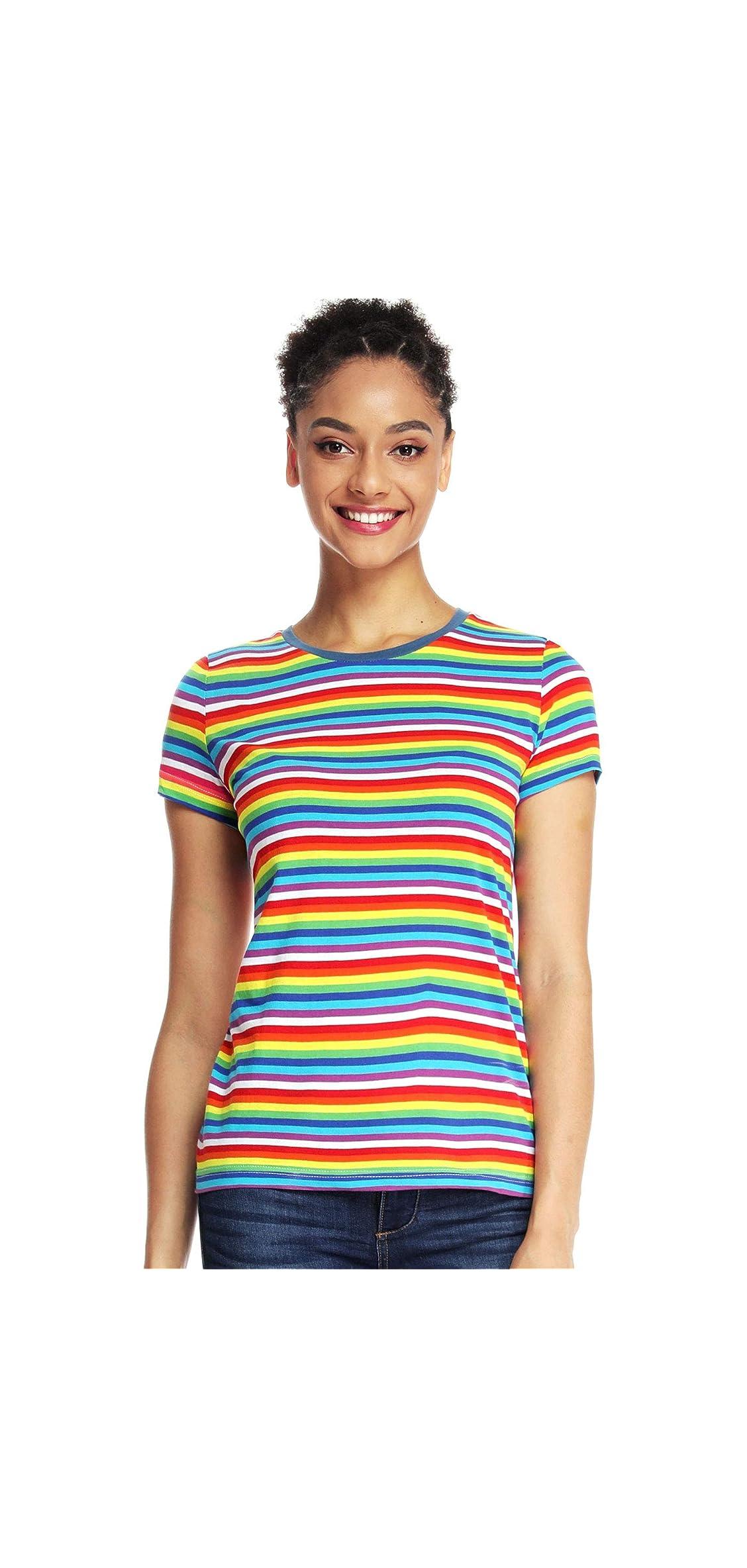 Rainbow T Shirts Women Striped Shirt Crew Neck Stripes Tee Short