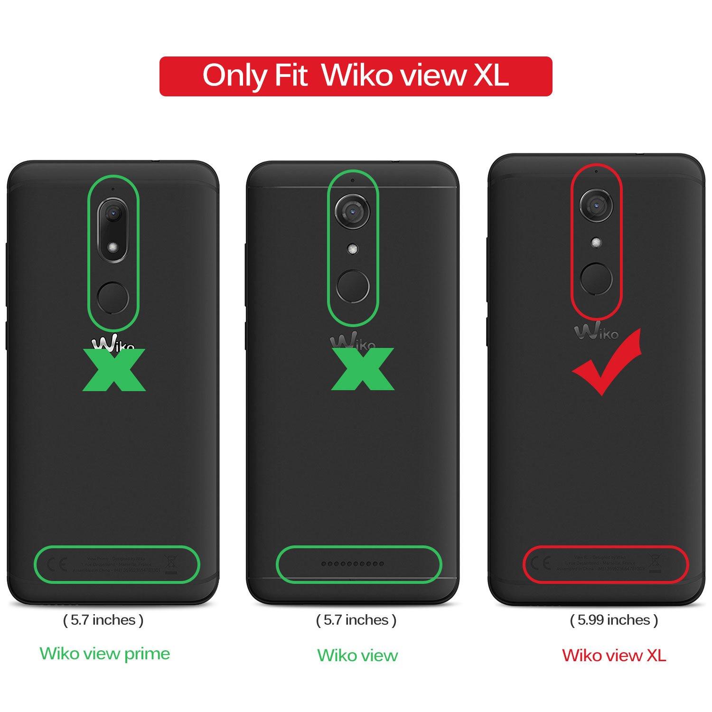 Funda Wiko View XL, KuGi Slim Flip Cover Carcasa Cubierta de cuero PU Multi-Angle Shockproof Silicio Protectora de Carcasa con Soporte Plegable para Wiko ...