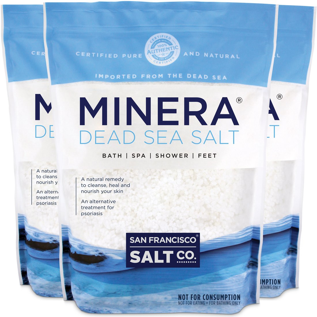 Minera Dead Sea Salt, 60 lbs. Coarse Grain (Qty 3, 20 lb. Bags) Bath and Mineral Salt - 100% Pure and Certified Natural Treatment for Psoriasis, Eczema, Acne and More