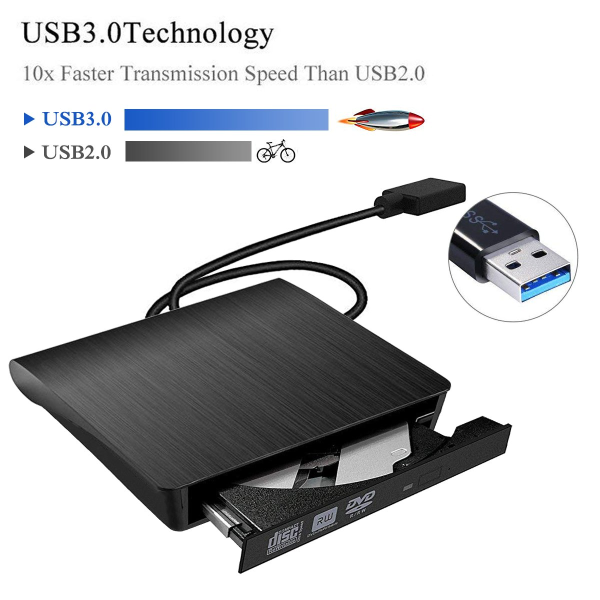 External DVD Drive, SUMBOAT USB 3.0 Portable Slim DVD CD Rom Burner Rewriter Driver,High Speed Data Transfer for Laptop Mac 10 OS Windows XP /2003/Vista/Win 7/ Win 8/Win 10 Linux by SUMBOAT (Image #4)