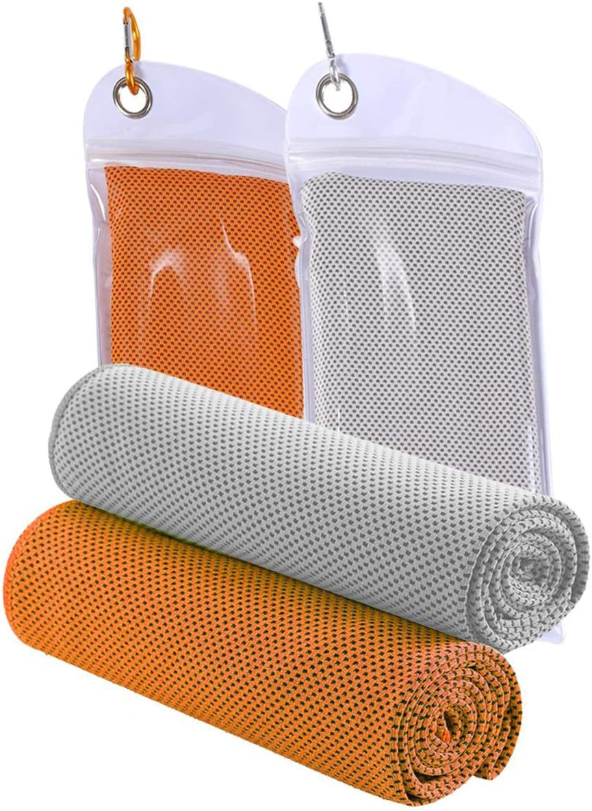 Travel Camping Orange and Gray JINGKE Cooling Towel Gym Towel for Men and Women Hiking,Golf 2 Packs Neck Cooling Wrap 40x 12 Cold snap Towel for Outdoor Sports Workout,Swimming,Yoga