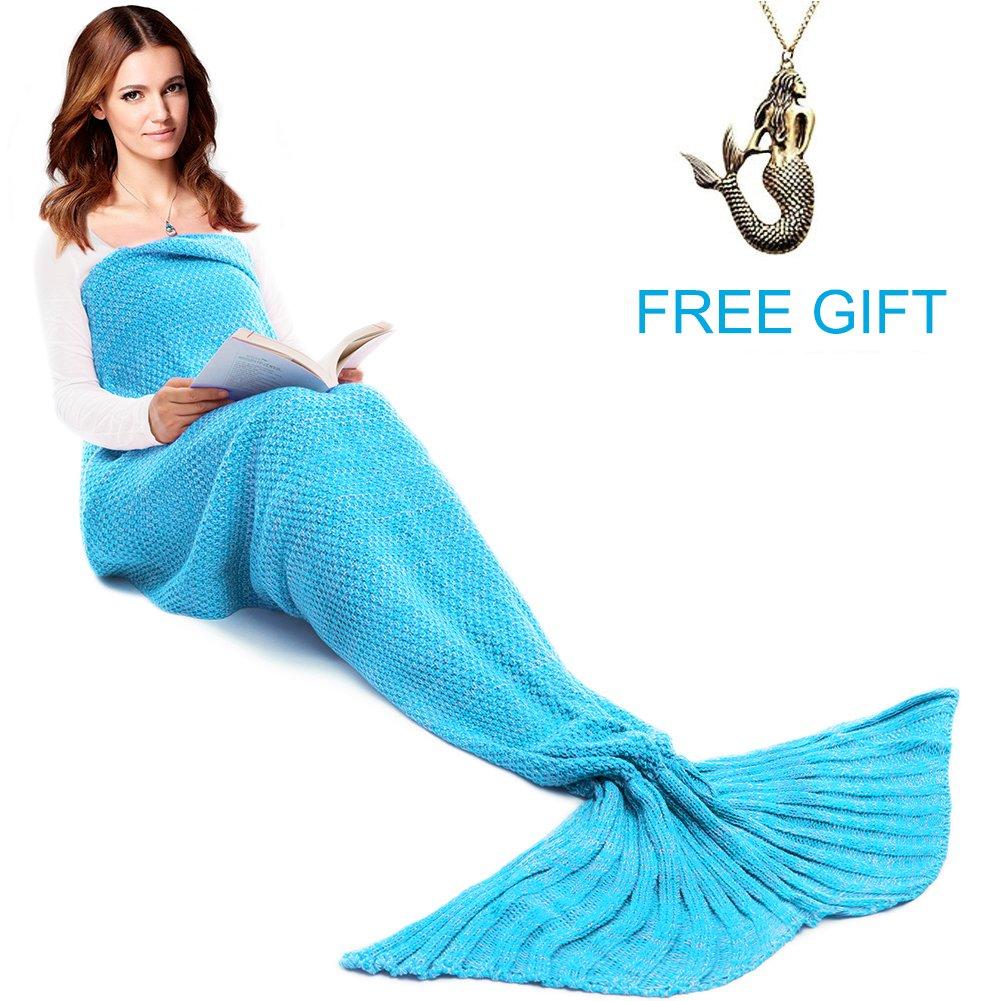 Mermaid Tail Blanket for Kids and Adult,Hand Crochet Snuggle Mermaid,All Seasons Seatail Sleeping Bag Blanket by Jr.White (Ocean Blue)