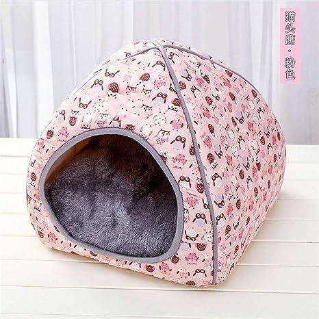 Wuwenw Linda Casa para Gatos Casa Cerrada Casa Plegable para Gatos Villa Mascota Suministros Casa para