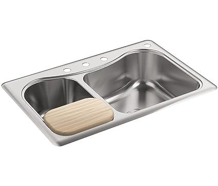 KOHLER K-3361-4-NA Staccato Dual Large/Medium Self-Rimming Kitchen on kohler drop-in sinks, kohler bathroom sinks, kohler antique sink, kohler stages sink, kohler brand sinks, undermount bathroom sinks, kohler pedestal sinks, kohler electric sink, kohler sink cabinet, kohler chef sink, kohler sink drain replacement, kohler toccata sink, kohler vanity sinks, kohler d shaped sink, kohler design sinks, kohler langlade sink, kohler sink fasteners, kohler clinic sink, kohler fireclay farmhouse sink, kohler composite sinks,
