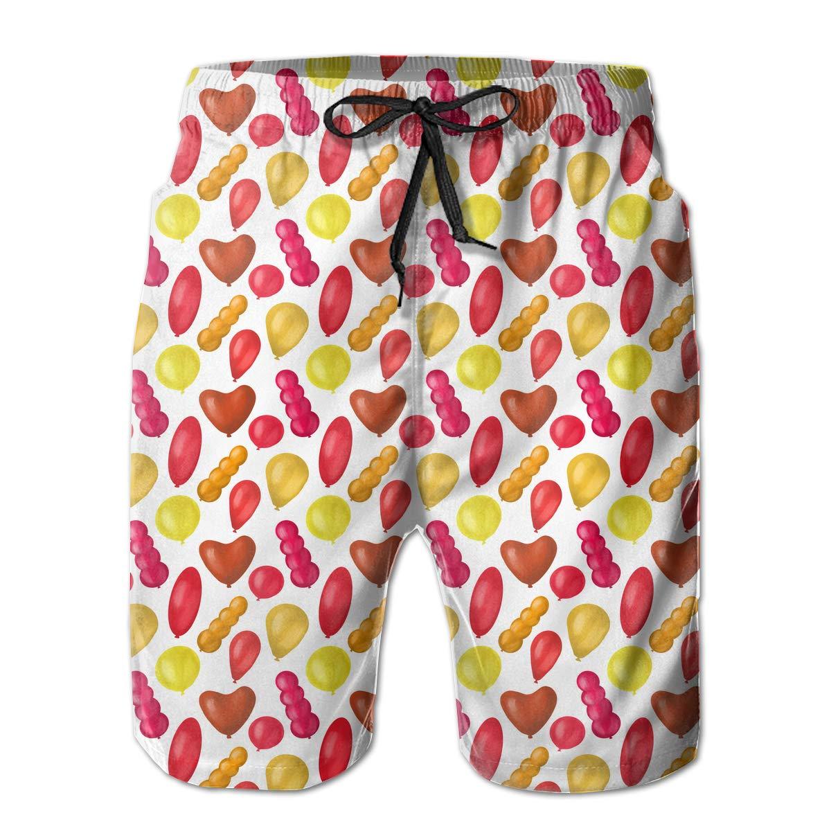 STDKNSK9 Mens Colorful Balloon Pattern Board Shorts Beach Pants
