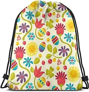 vintage cap Floral Easter Pattern_11148 3D Print Drawstring Backpack Rucksack Shoulder Bags Gym Bag for Adult 16.9'x14'