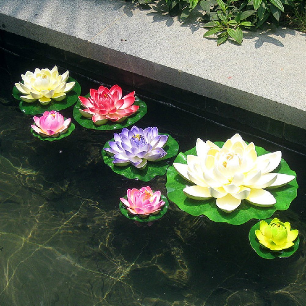 Amazon.com : superdream Water Floating Foam Lotus Flower for Pond ...