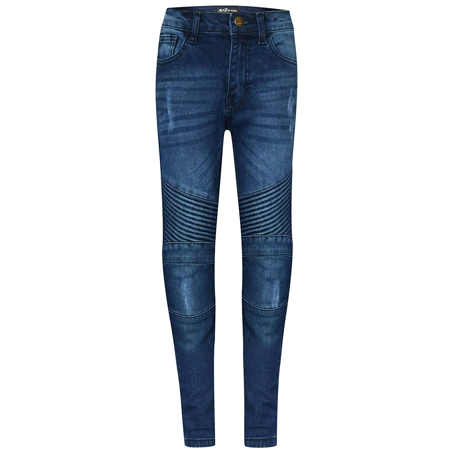 A2Z 4 Kids® Kids Boys Stretchy Jeans Designer's Mid Blue Ripped Knee Drape Panel Denim Pants Fashion Slim Fit Trousers New Age 5 6 7 8 9 10 11 12 13 Years