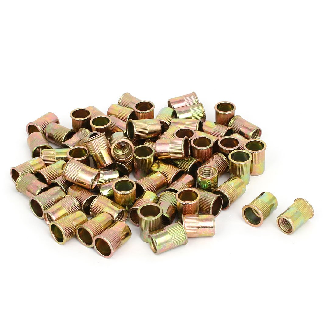 uxcell M10x19mm Reduced Head Straight Knurled Rivet Nut Insert Bronze Tone 70pcs