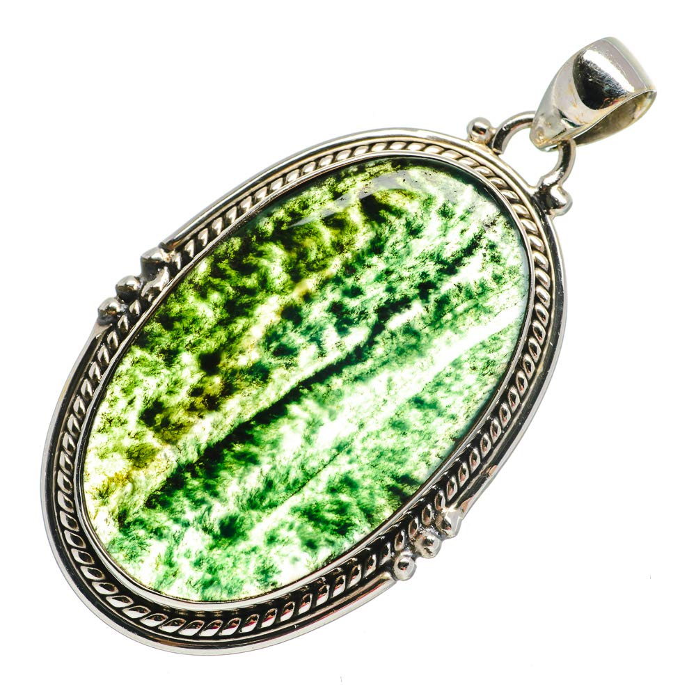 Vintage PD692132 - Handmade Jewelry Ana Silver Co Green Moss Agate Pendant 2 Bohemian 925 Sterling Silver