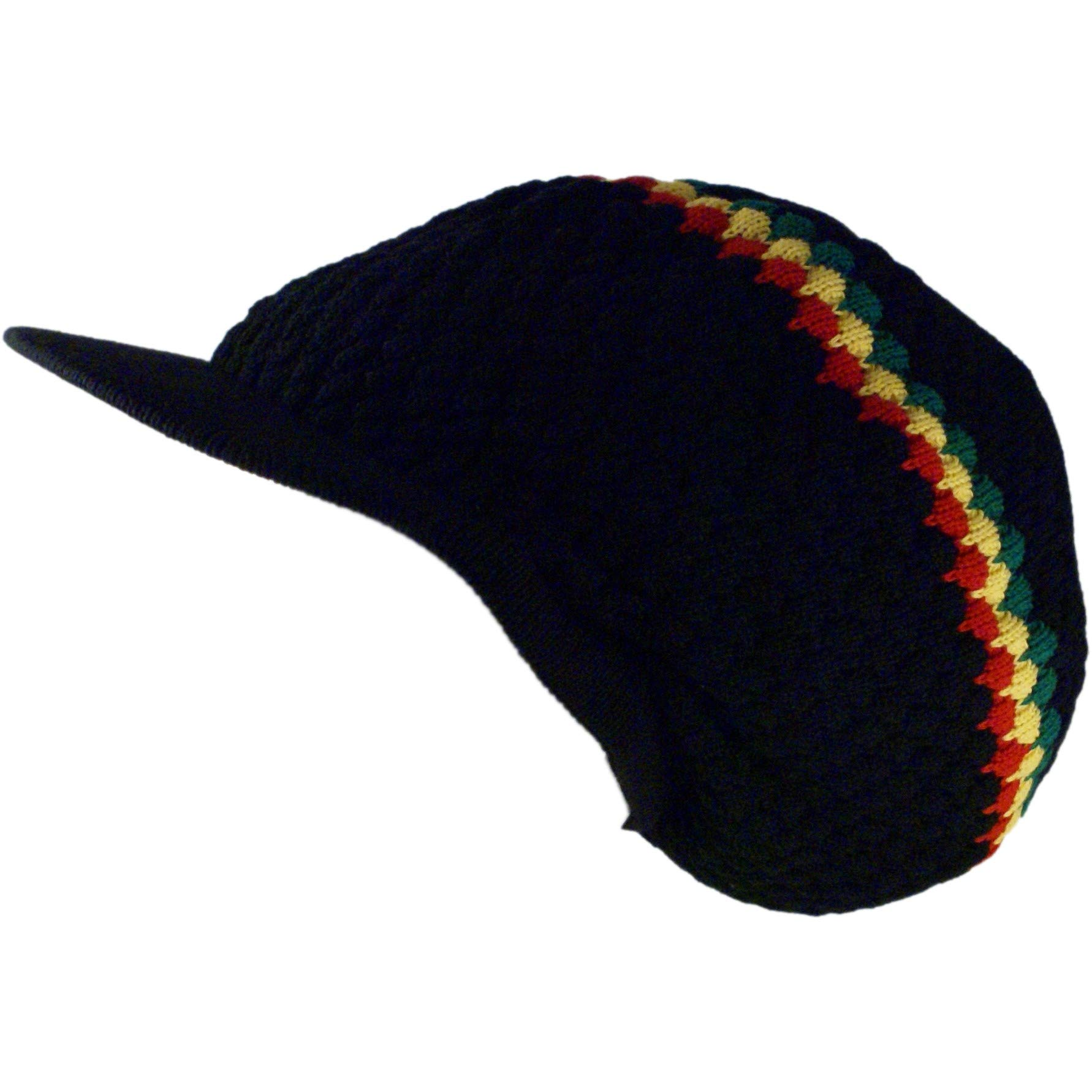 SSK Rasta Knit Tam Hat Dreadlock Cap (Large Round Blk/Red/YEL/Grn w/Brim) by Shoe String King