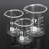 MYAMIA 3Pcs Taza De Vidrio Borosilicato Graduado 100Ml 150Ml 250Ml Conjunto Volumétrico Laboratorio…