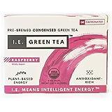 I.E. Green Tea Natural Raspberry Flavor Green Tea, Decaffeinated — USDA-Certified Organic Pure, Instant, Liquid Tea Concentrate (Box of 8 Packets)
