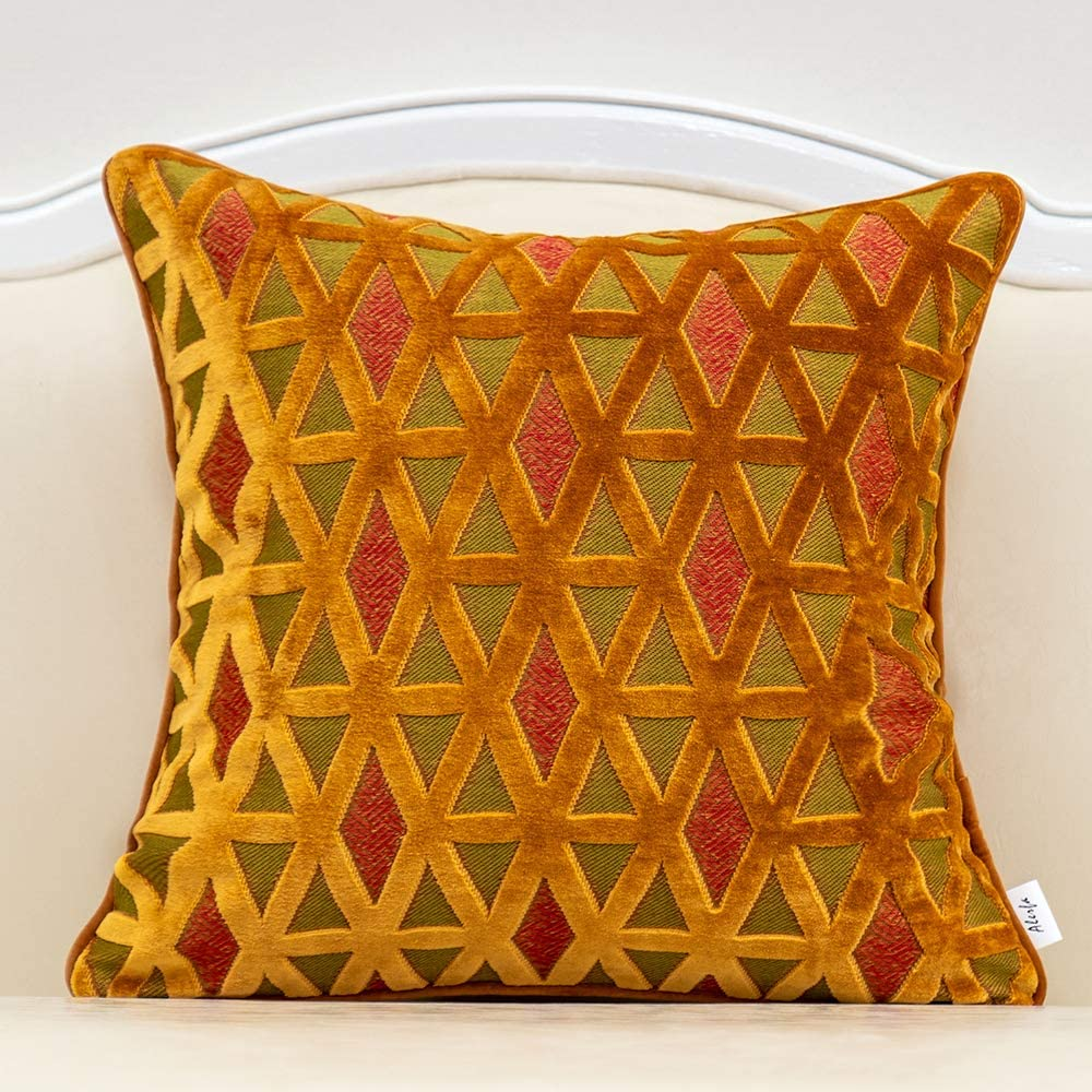 Alerfa 20 x 20 Inch Square Diamond Plaid Striped Embroidery Cut Velvet Cushion Case Luxury Modern Throw Pillow Cover Decorative Pillow for Couch Sofa Living Room Bedroom Car, Orange