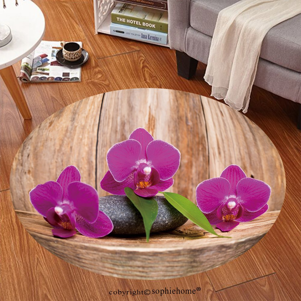 Sophiehome Soft Carpet 214859794 Orchids flowers on wooden background spa massage stones Anti-skid Carpet Round 34 inches