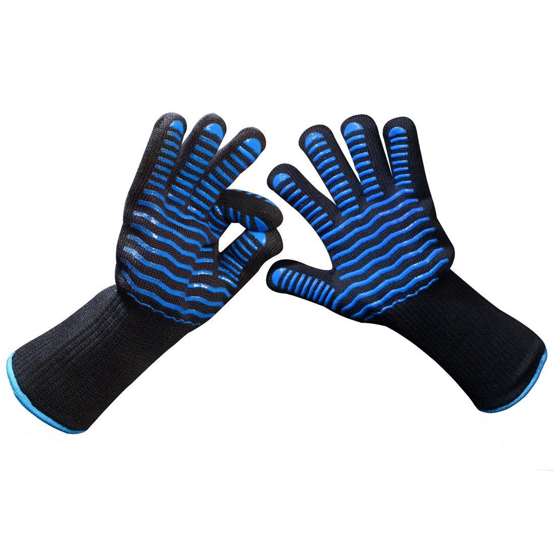 Schwer Extreme Heat Resistant Oven BBQ&Grilling Gloves-Flame Retardant Silicone Anti-Slip Cooking, Frying