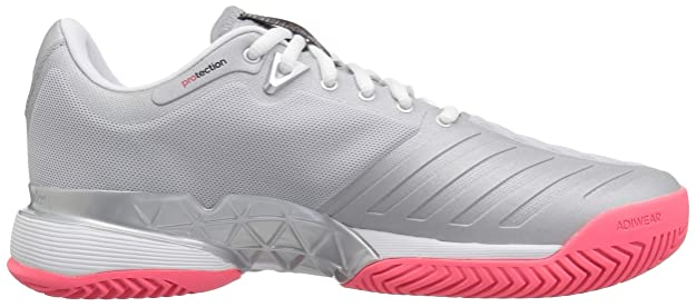 huge selection of 82692 2acc7 Amazon.com   adidas Women s Barricade 2018 Tennis Shoe, Matte  Silver White Flash red, 9 M US   Tennis   Racquet Sports