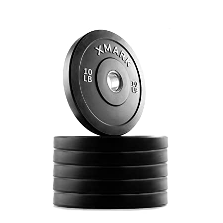 XMark Premium Bumper Plates, Three-Year Warranty, Low Bounce Olympic Bumper Weight Plates, Pairs and Sets, XM-3385