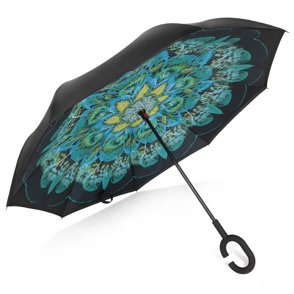 TRADE® Parapluie inversé Double couche Peacock Plumes Autonome Mains libres Résistant au vent Anti-ultraviolet Inverser Parapluie Pliant Antidérapant En forme de C Manipuler Utilisé pour Voiture Utiliser