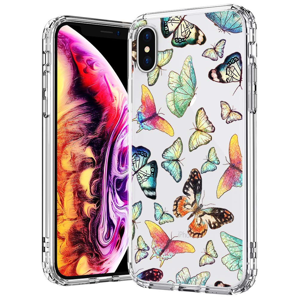 the latest 88816 526b2 MOSNOVO Case for iPhone Xs/iPhone X, Fashion Butterfly Pattern Clear Design  Transparent Plastic Hard Back Case with TPU Bumper Protective Case Cover ...