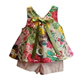 NING Summer Beach Toddler Kids Baby Girls Gift Outfit Clothes Floral Vest T-shirt+Shorts Pants Set for 2~7 Years Old Girl