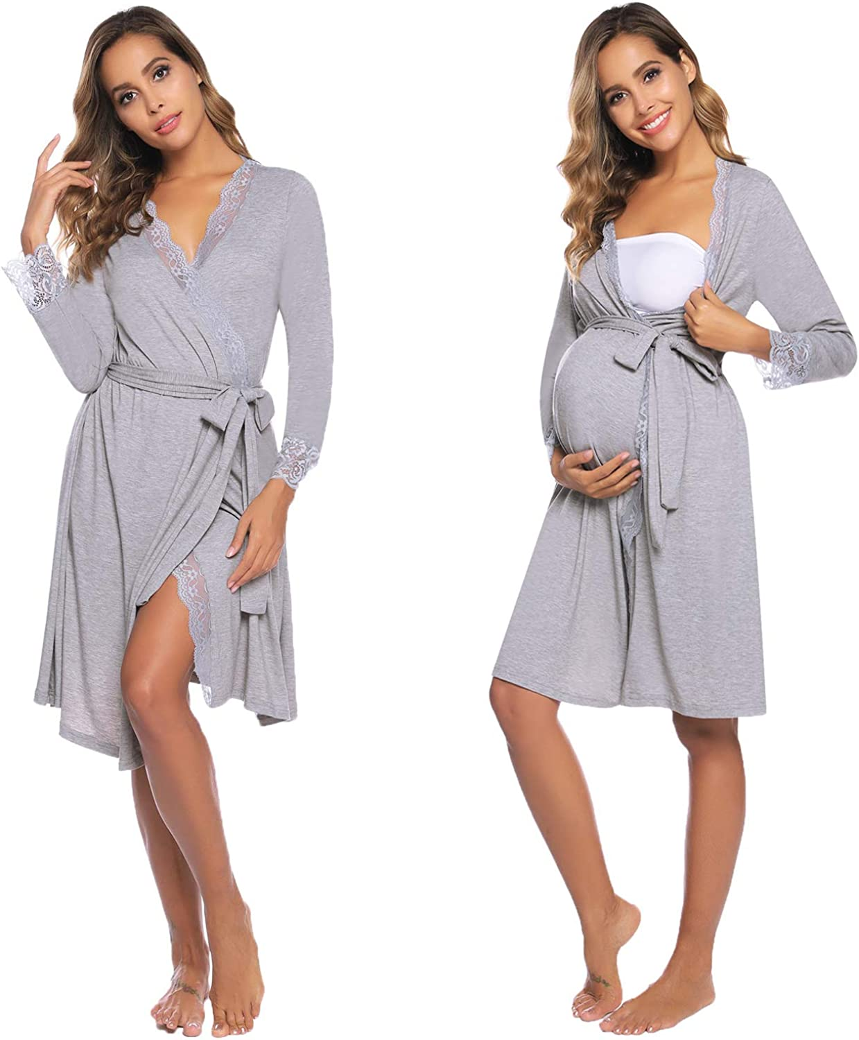 Sykooria Womens Breastfeeding Nightdress Long Sleeve Robe Soft and Lightweight Maternity Dressing Gown Nursing Bathrobe Nightgown for Home Hospital Labour