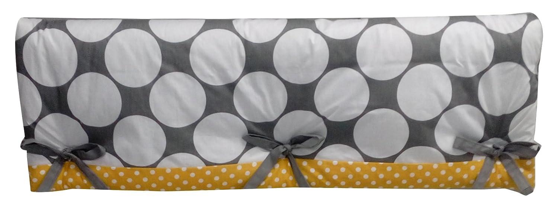 Bacati Stripes Dots Crib 2 Piece Rail Guard Set With Polyester Filling Grey Yellow