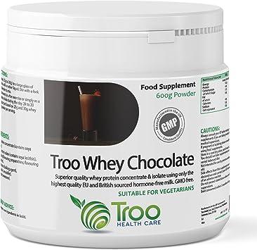 Troo polvo de proteína de suero 600 g Chocolate – mezcla de suero concentrado y aislar de hormona libre Reino Unido y UE leche – fabricados en el ...