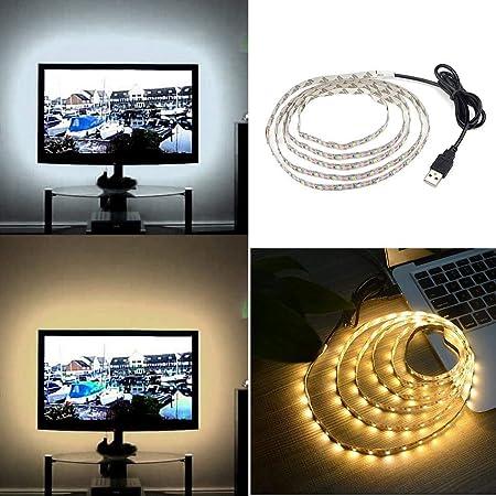 inkeme USB LED Iluminación de Fondo para TV LED Strip Band LED Strip para TV Pantalla de TV y Monitor de PC Blanco cálido/Blanco 50cm-500cm: Amazon.es: Hogar