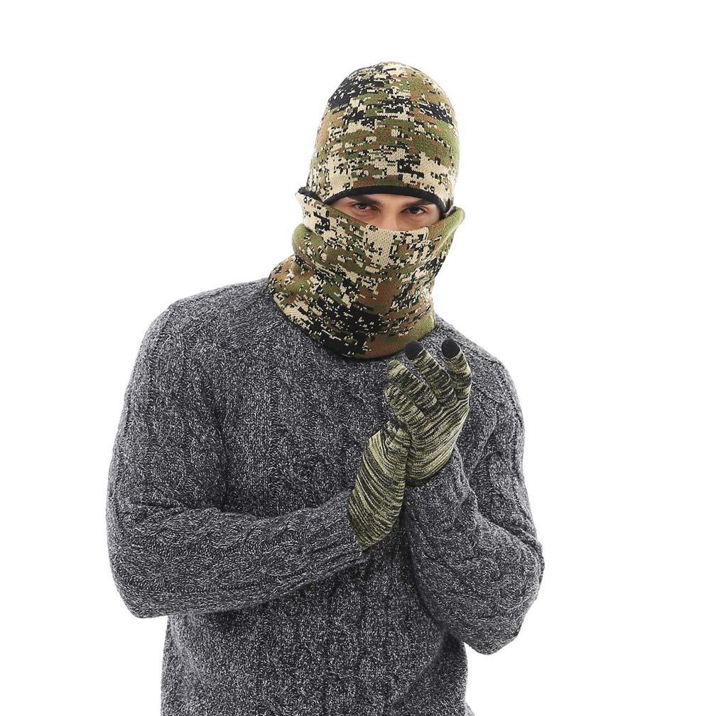 Queta dise/ño de Camuflaje Verde Militar Guantes de Invierno con Bufanda de Terciopelo