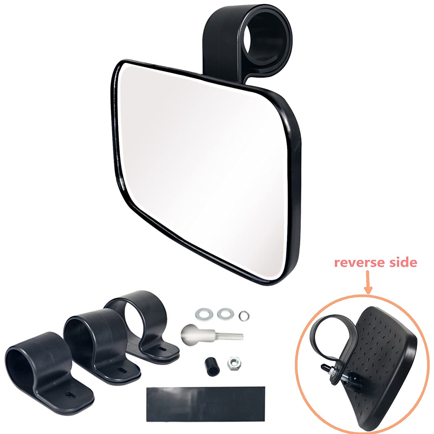 Bestong 1 Pcs UTV Clear Rear View Center Mirror High Impact ABS Housing and Multi Clamps with Shatter-Proof Tempered Glass Mirror Tongbest