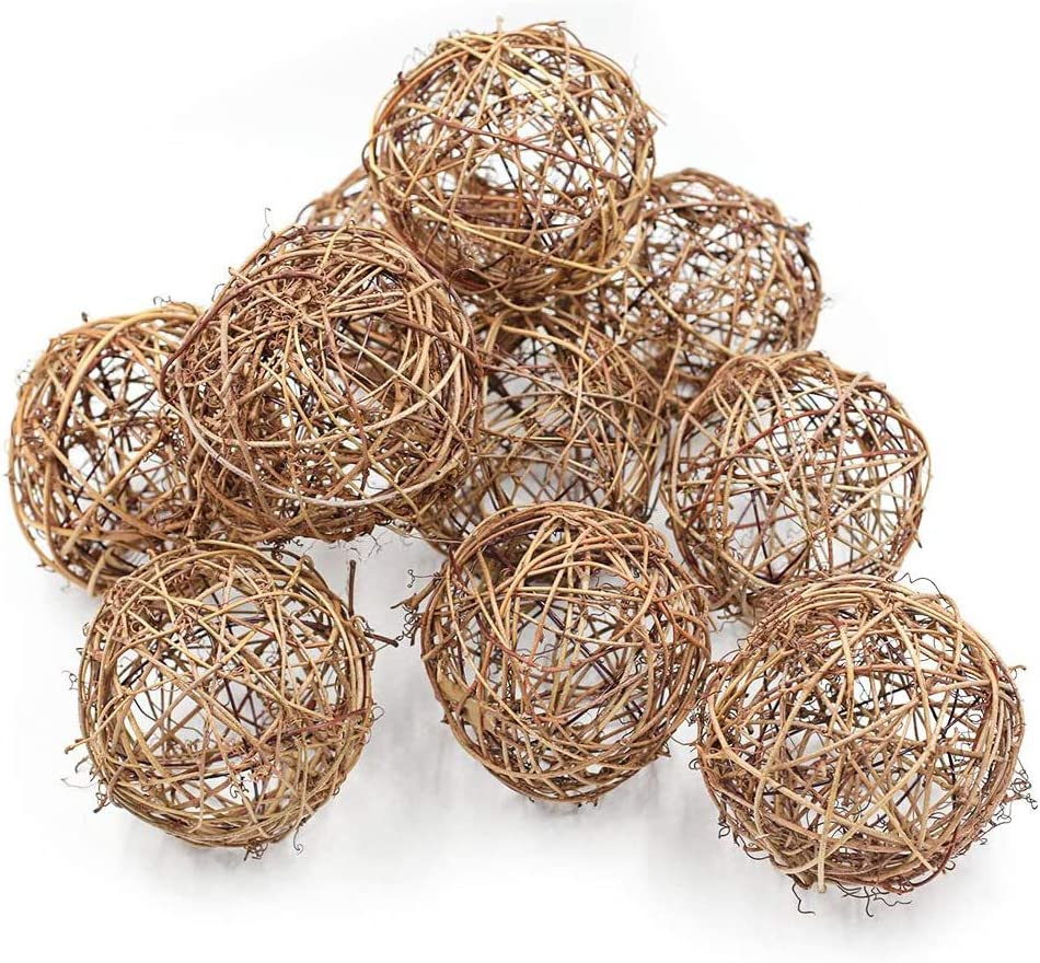 Natural Grapevine Ball 2.36 Inch Vine Ball for Fairy Garden Decor Christmas Hanging Balls