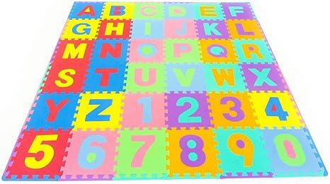 Leo & Emma - Alfombra Puzzle de 36 esteras Piezas Letras y números Alfombrilla de Juego infantíl en gomaespuma Impermeable: Amazon.es: Juguetes y juegos