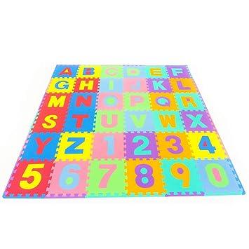 Leo & Emma - Alfombra puzzle de 36 esteras piezas letras y números Alfombrilla de juego infantíl en gomaespuma impermeable